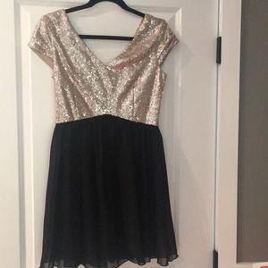 Sequined and black chiffon dress
